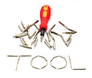 Tool yellow screwdriver heads toolkit isolated on white Royalty Free Stock Images