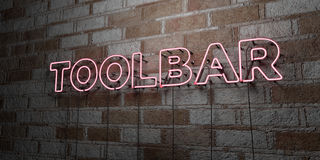 TOOLBAR - Glowing Neon Sign on stonework wall - 3D rendered royalty free stock illustration Stock Photo