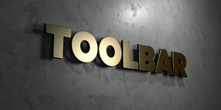 Toolbar - Gold sign mounted on glossy marble wall  - 3D rendered royalty free stock illustration Stock Photos