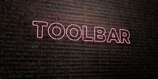 TOOLBAR -Realistic Neon Sign on Brick Wall background - 3D rendered royalty free stock image Royalty Free Stock Photography