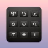 Toolbaren av de nio symbolerna för internet och mobila enheterna Arkivfoton
