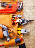 Toolbelt with construction toolshammer screwdriver Royalty Free Stock Image