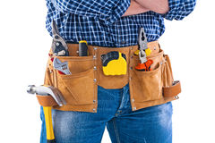 Toolbelt with tools isolated on white construction Royalty Free Stock Photography