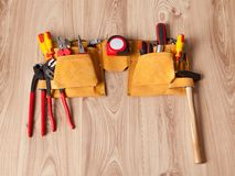 Toolbelt with various tools Royalty Free Stock Photography