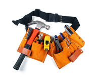 Toolbelt with various tools  on white Royalty Free Stock Photography