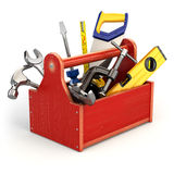 toolbox предпосылки оборудует белизну Стоковое фото RF