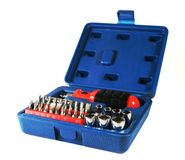 Toolbox. Opened blue household toolbox on isolated background Stock Image