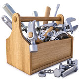 Toolbox. Wooden toolbox with tools. on white vector illustration