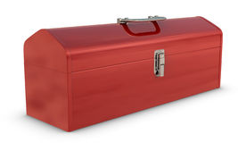 Toolbox. Classic red, metal toolbox on white with clipping path Stock Photo