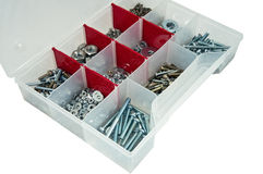 Toolbox with arranged screws Stock Photography
