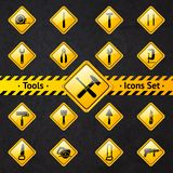 Toolbox attention yellow and black signs Royalty Free Stock Image