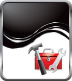 Toolbox on black wave background Stock Image