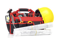 Toolbox and blueprints Stock Photo