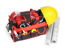 Toolbox and blueprints Stock Images