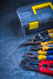 Toolbox bolt cutter pliers and tin snips on Royalty Free Stock Photography