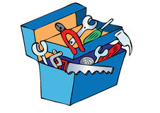 Toolbox. A cartoon blue toolbox containing various tools Royalty Free Stock Photos