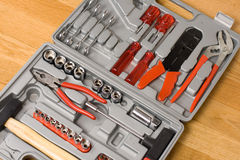 Toolbox with different instruments Royalty Free Stock Photos
