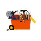 Toolbox for DIY house repair. And home renovation with power and hand tools concept vector illustration Royalty Free Stock Photography
