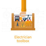 Toolbox electrician vector. Toolbox electrician. Electricians in hand holding box of tools and equipment for repair and maintenance. Concept of electrical Royalty Free Stock Image