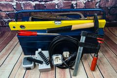 Electronic material and equipment. Toolbox with electronic material and equipment for installation royalty free stock photo