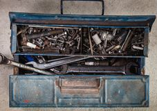 Toolbox on flat lay view with many tools royalty free stock image