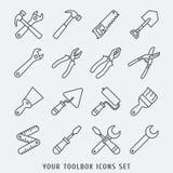 Toolbox geplaatste pictogrammen Stock Foto's