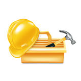 Toolbox with hammer and hard hat  Royalty Free Stock Photo