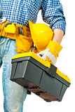 Toolbox in hand of worker Stock Images