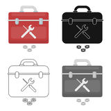 Toolbox icon in cartoon style  on white background. Plumbing symbol stock vector illustration. Royalty Free Stock Photo