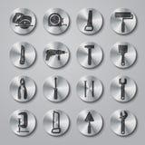 Toolbox ikony Ustawiać na metali guzikach ilustracji