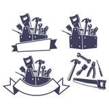 Toolbox med hjälpmedel, designbeståndsdelar Arkivbild