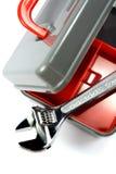 Toolbox met regelbare moersleutel Stock Foto's