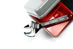 Toolbox met regelbare moersleutel Stock Foto