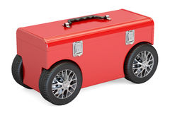 Toolbox op autowielen, het 3D teruggeven Royalty-vrije Stock Afbeelding
