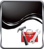 Toolbox op zwarte golfachtergrond Stock Afbeelding