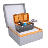 Toolbox in open gift box Stock Photo