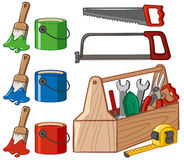 Toolbox and paint buckets