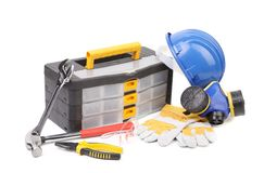 Toolbox pliers and hard hat. Royalty Free Stock Photo
