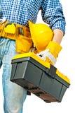 Toolbox ter beschikking van arbeider stock afbeeldingen