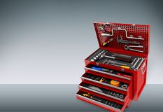 Toolbox. Work tool box red metal spanner white vector illustration