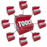 Toolbox Tools Increasing Skills Success Goal Mission. Toolboxes containing needed ingredients and tools to achieving success in working toward a mission in your Stock Photography