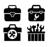 Toolbox with tools. Vector black toolbox with tools icon on white Stock Photos