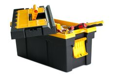 Toolbox with tools on white background Royalty Free Stock Photos