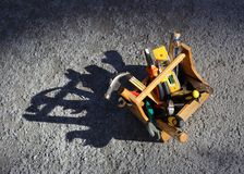 Toolbox and tools. Wooden toolbox and hand tools Royalty Free Stock Photography