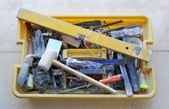 Toolbox wanordelijk van een metselaar royalty-vrije stock foto's