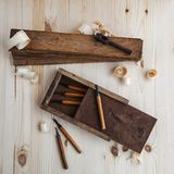 Toolbox with wood cutters royalty free stock photos