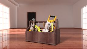 Toolbox on wooden floor Stock Photos