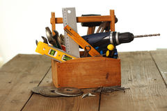 Toolbox on workplace Royalty Free Stock Images