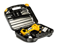 Toolbox with yellow drill set Royalty Free Stock Photos