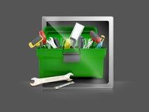 Toolboxbyggnadshjälpmedel för reparation royaltyfri illustrationer